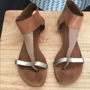 Tan Ankle Closure Sandals